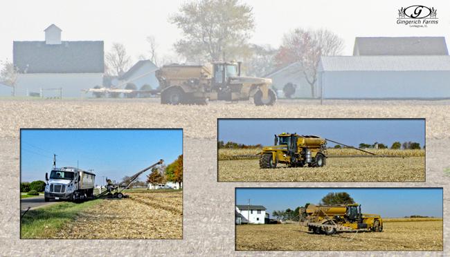Fertilizer spreader at Gingerich Farms
