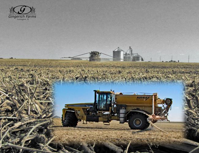 Fertilizer spreading at Gingerich Farms