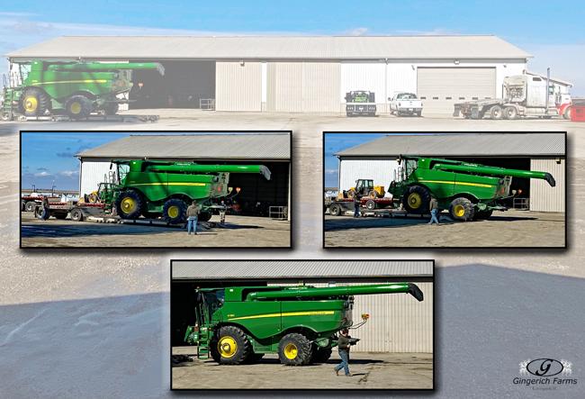 Unloading combine - Gingerich Farms