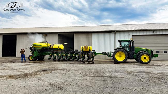 Washing John Deere planter - Gingerich Farms