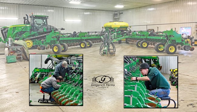 Working on planter at Gingerich Farms
