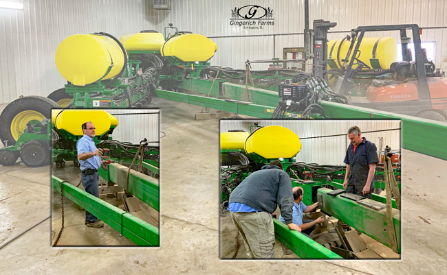 Working on planter hitch at Gingerich Farms