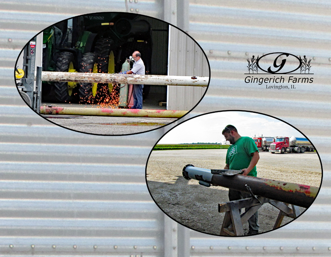 Working on pipe at Gingerich Farms