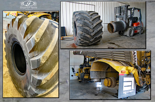 Fertilizer spreader getting new tires at Gingerich Farms